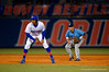 Florida Gators outfielder Buddy Reed leads off second base during the first inning.  Florida Gators vs Rhode Island Rays.  February 13th, 2015. Gator Country photo by David Bowie.