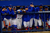 The Florida Gator bench watches on during the game.  Florida Gators vs Rhode Island Rays.  February 13th, 2015. Gator Country photo by David Bowie.