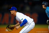 Florida Gators first baseman A.J. Puk gets set at first for the pitch.  Florida Gators vs Rhode Island Rays.  February 13th, 2015. Gator Country photo by David Bowie.