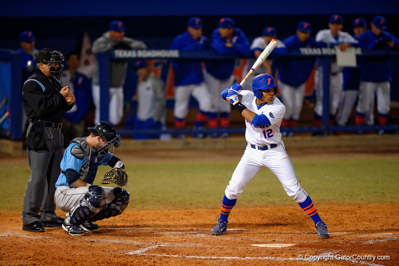 Florida Gators shortstop Richie Martin in the batters box.  Florida Gators vs Rhode Island Rays.  February 13th, 2015. Gator Country photo by David Bowie.