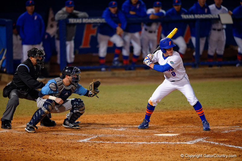 Florida Gators outfielder Harrison Bader in the batters box.  Florida Gators vs Rhode Island Rays.  February 13th, 2015. Gator Country photo by David Bowie.
