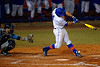 Florida Gators catcher Mike Rivera is hit in the foot by a pitch.  Florida Gators vs Rhode Island Rays.  February 13th, 2015. Gator Country photo by David Bowie.