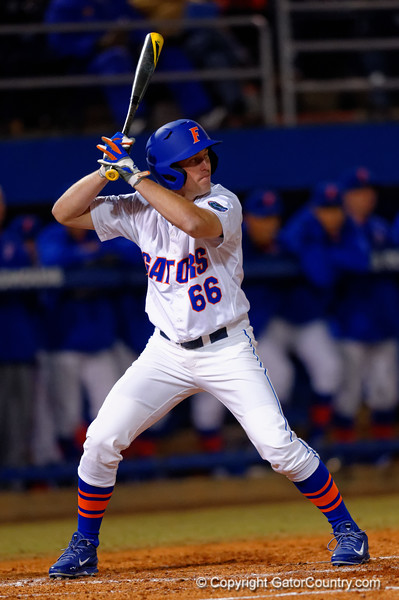 Florida Gators outfielder Ryan Larson at the plate during the second inning.  Florida Gators vs Rhode Island Rays.  February 13th, 2015. Gator Country photo by David Bowie.