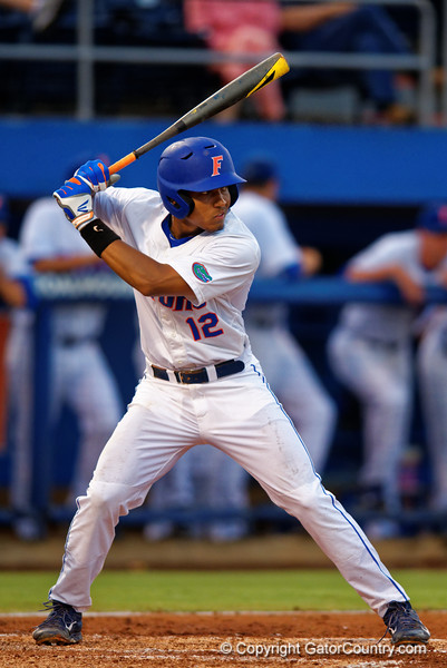 Florida Gators shortstop Richie Martin awaits a pitch during Thursday nights loss to the Auburn Tigers 4-1.  May 14th, 2015. Gator Country photo by David Bowie.
