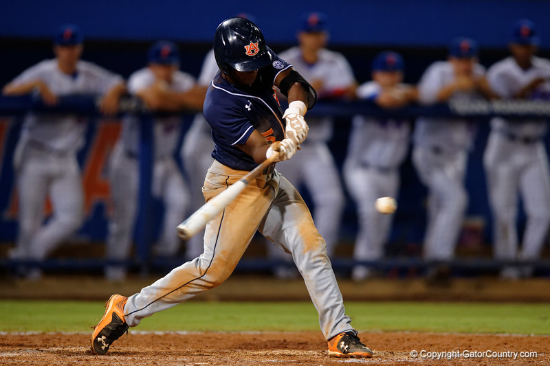 Auburn Tigers infielder Melvin Gray swings at a pitch during Thursday nights Gators loss to the Auburn Tigers 4-1.  May 14th, 2015. Gator Country photo by David Bowie.
