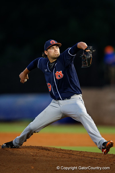 Auburn Tigers pitcher Cole Lipscomb working in the fifth inning during Thursday nights loss to the Auburn Tigers 4-1.  May 14th, 2015. Gator Country photo by David Bowie.