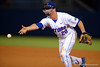 Florida Gators infielder Peter Alonso underhands the ball to first base for an out during Thursday nights Gators loss to the Auburn Tigers 4-1.  May 14th, 2015. Gator Country photo by David Bowie.