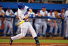 Florida Gators infielder Peter Alonso swings away at a pitch during Thursday nights loss to the Auburn Tigers 4-1.  May 14th, 2015. Gator Country photo by David Bowie.