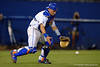 Florida Gators catcher Mike Rivera fields the ball after watching it drop right in front of him in the eighth inning during Thursday nights Gators loss to the Auburn Tigers 4-1.  May 14th, 2015. Gator Country photo by David Bowie.