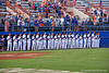 The Florida Gators gather for the National Anthem during Thursday nights loss to the Auburn Tigers 4-1.  May 14th, 2015. Gator Country photo by David Bowie.