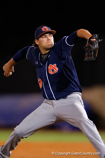 Auburn Tigers pitcher Cole Lipscomb working in the sixth inning during Thursday nights loss to the Auburn Tigers 4-1.  May 14th, 2015. Gator Country photo by David Bowie.