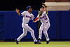 Florida Gators outfielder Buddy Reed and Florida Gators outfielder Ryan Larson collide in the outfield, dropping the ball and allowing Auburn to score two runs in the sixth inning during Thursday nights Gators loss to the Auburn Tigers 4-1.  May 14th, 2015. Gator Country photo by David Bowie.