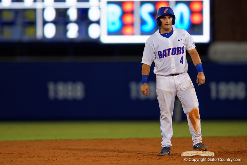 Florida Gators catcher Mike Rivera stands on second base in the fifth inning during Thursday nights Gators loss to the Auburn Tigers 4-1.  May 14th, 2015. Gator Country photo by David Bowie.