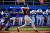 Auburn Tigers outfielder Sam Gillikin with a single during Thursday nights loss to the Auburn Tigers 4-1.  May 14th, 2015. Gator Country photo by David Bowie.