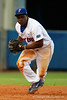 Florida Gators infielder Josh Tobias fields a ball and throws to first for an out in the second inning during Thursday nights loss to the Auburn Tigers 4-1.  May 14th, 2015. Gator Country photo by David Bowie.