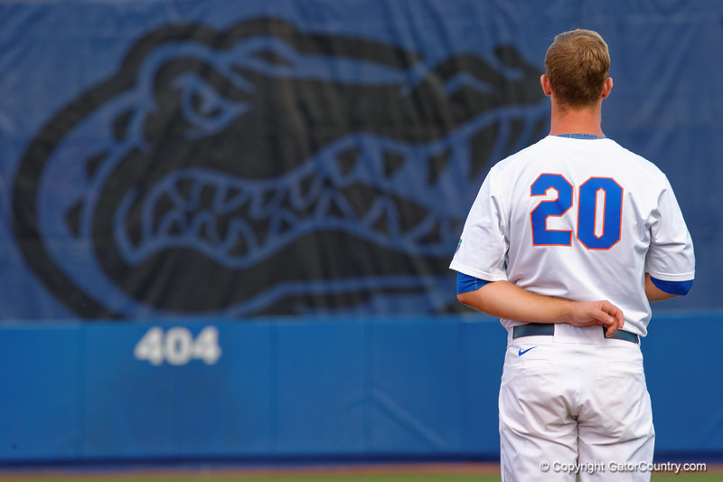 Florida Gators infielder Peter Alonso stands at attention as the National Anthem plays during Thursday nights loss to the Auburn Tigers 4-1.  May 14th, 2015. Gator Country photo by David Bowie.