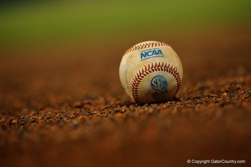 A NCAA baseball rests on the field during Thursday nights Gators loss to the Auburn Tigers 4-1.  May 14th, 2015. Gator Country photo by David Bowie.