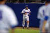 Florida Gators catcher Mike Rivera jogs toward the Gators dugout and his team waiting for him after scoring in the firth during Thursday nights Gators loss to the Auburn Tigers 4-1.  May 14th, 2015. Gator Country photo by David Bowie.