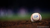 A Florida Gators baseball rests on the field as the game concludes during Thursday nights Gators loss to the Auburn Tigers 4-1.  May 14th, 2015. Gator Country photo by David Bowie.