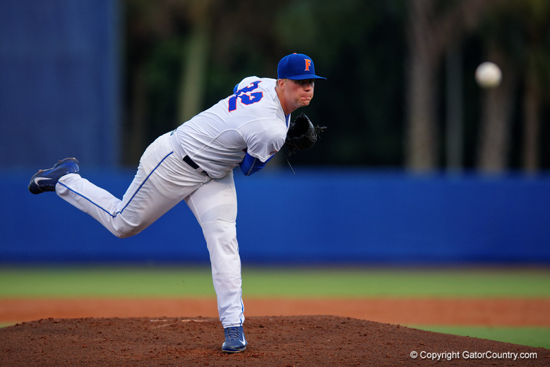 Florida Gators pitcher Logan Shore working in the second inning during Thursday nights loss to the Auburn Tigers 4-1.  May 14th, 2015. Gator Country photo by David Bowie.