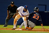 Florida Gators infielder Taylor Lane tags out Auburn Tigers infielder Jordan Ebert as he slides into third during Thursday nights Gators loss to the Auburn Tigers 4-1.  May 14th, 2015. Gator Country photo by David Bowie.