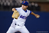 Florida Gators OF/LHP Logan Browning pitching in the ninth inning during Thursday nights Gators loss to the Auburn Tigers 4-1.  May 14th, 2015. Gator Country photo by David Bowie.
