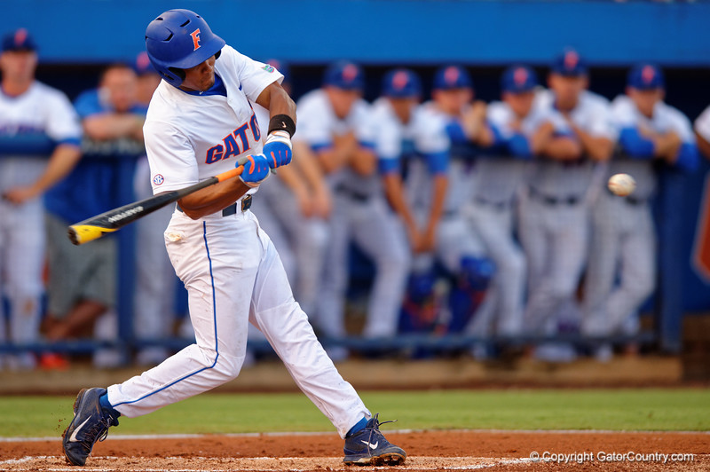 Florida Gators shortstop Richie Martin swings at a pitch during Thursday nights loss to the Auburn Tigers 4-1.  May 14th, 2015. Gator Country photo by David Bowie.