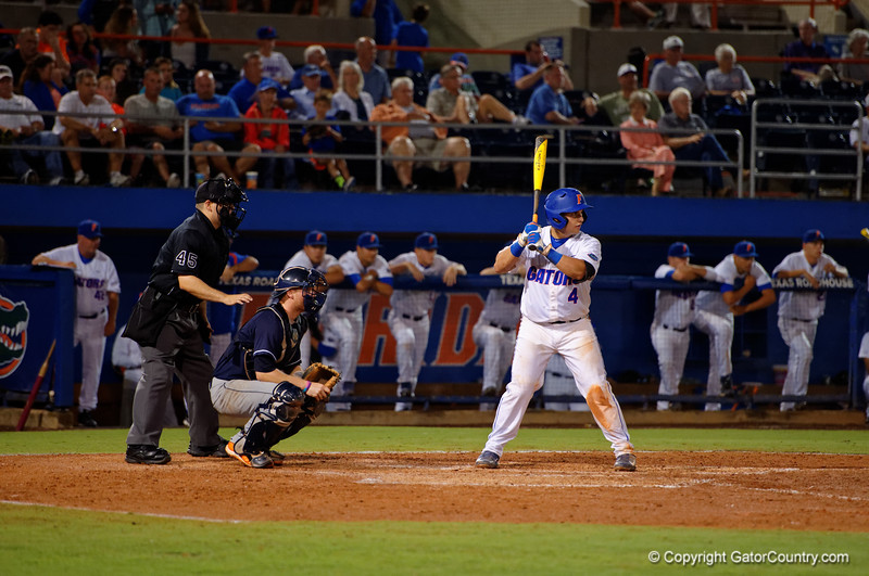 Florida Gators catcher Mike Rivera stands at the plate during Thursday nights Gators loss to the Auburn Tigers 4-1.  May 14th, 2015. Gator Country photo by David Bowie.