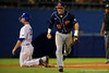 Auburn Tigers third baseman Kyler Deese celebrates after tagging out Florida Gators infielder Peter Alonso at third during Thursday nights Gators loss to the Auburn Tigers 4-1.  May 14th, 2015. Gator Country photo by David Bowie.