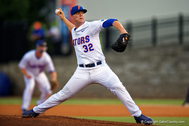 Florida Gators pitcher Logan Shore working in the fouth inning during Thursday nights loss to the Auburn Tigers 4-1.  May 14th, 2015. Gator Country photo by David Bowie.