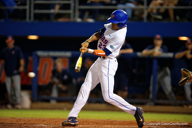 Florida Gators outfielder Buddy Reed swings at a pitch during Thursday nights Gators loss to the Auburn Tigers 4-1.  May 14th, 2015. Gator Country photo by David Bowie.