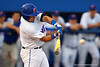 Florida Gators catcher Mike Rivera drives a deep balll but is robbed by an Auburn Tigers outfielder during Thursday nights loss to the Auburn Tigers 4-1.  May 14th, 2015. Gator Country photo by David Bowie.