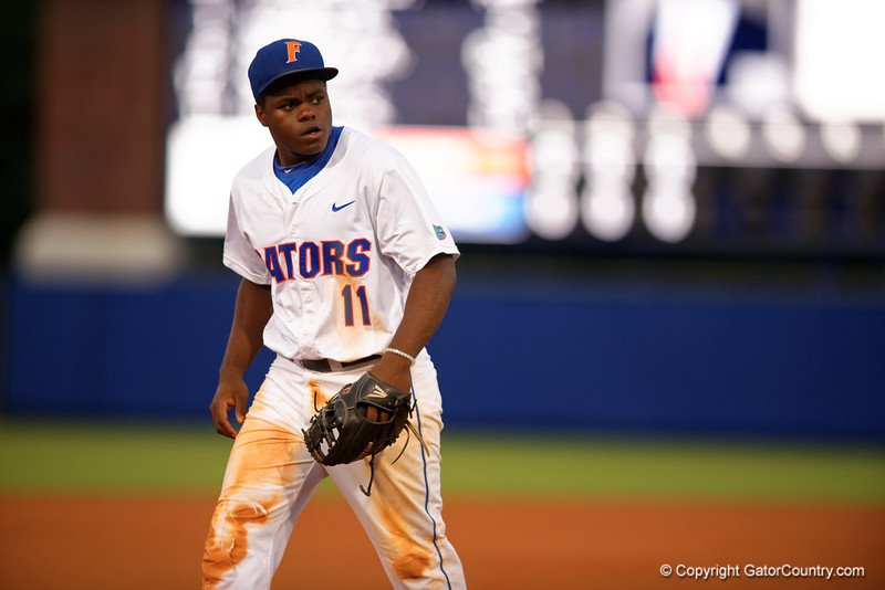 Florida Gators infielder Josh Tobias walks toward third base to get set for the next pitch during Thursday nights loss to the Auburn Tigers 4-1.  May 14th, 2015. Gator Country photo by David Bowie.