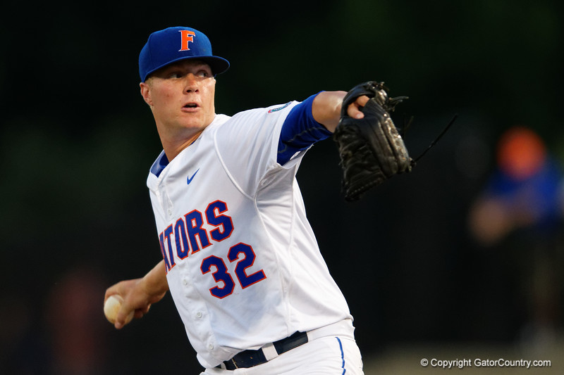 Florida Gators pitcher Logan Shore working in the fifth inning during Thursday nights loss to the Auburn Tigers 4-1.  May 14th, 2015. Gator Country photo by David Bowie.