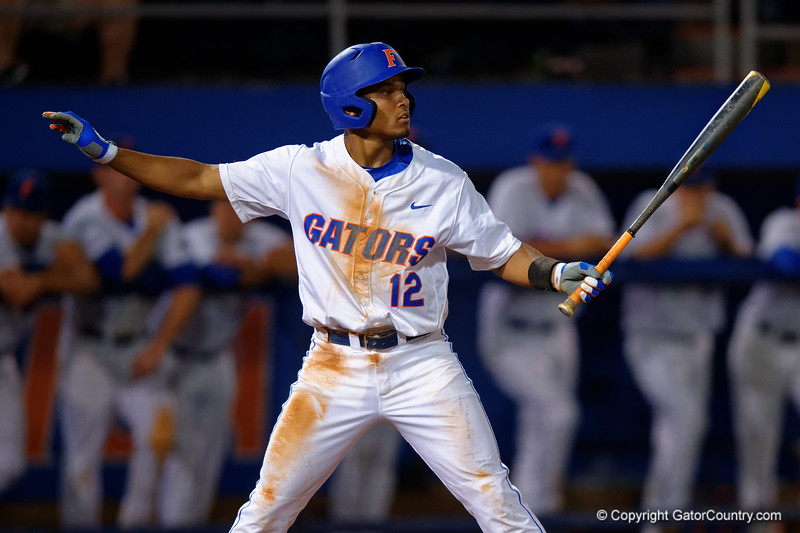 Florida Gators shortstop Richie Martin steps to the plate during Thursday nights Gators loss to the Auburn Tigers 4-1.  May 14th, 2015. Gator Country photo by David Bowie.