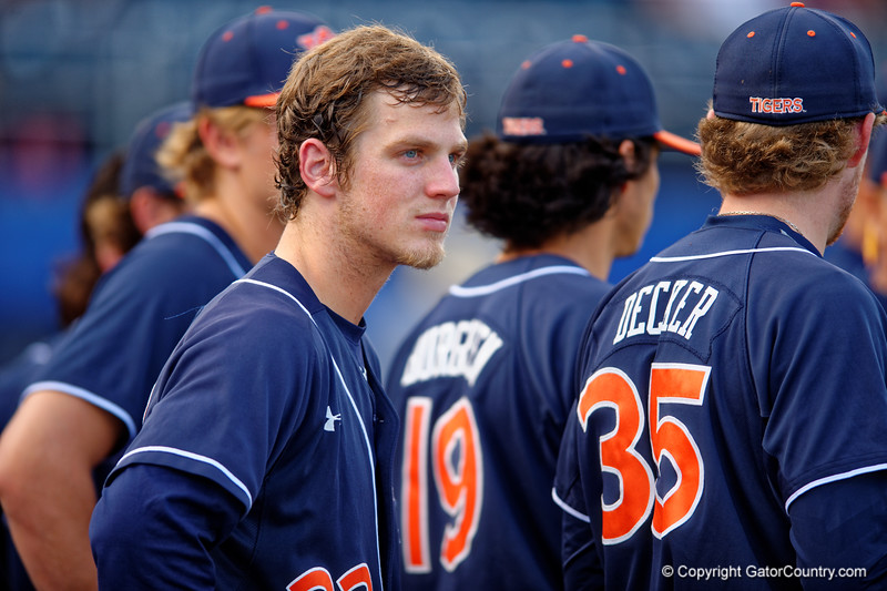 The Auburn Tigers wait to take the field during Thursday nights win over to the Florida Gators 4-1.  May 14th, 2015. Gator Country photo by David Bowie.
