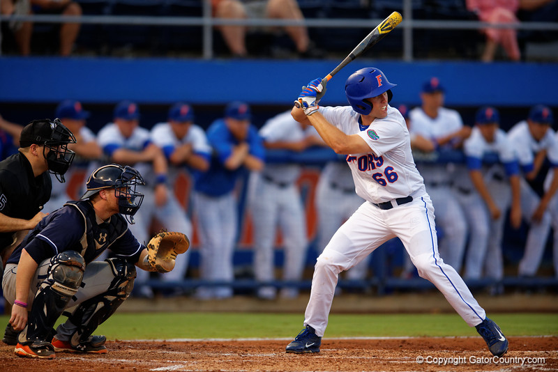 Florida Gators outfielder Ryan Larson stands at the plate during Thursday nights loss to the Auburn Tigers 4-1.  May 14th, 2015. Gator Country photo by David Bowie.