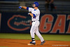Florida Gators infielder Peter Alonso celebrates a double in the seventh inning during Thursday nights Gators loss to the Auburn Tigers 4-1.  May 14th, 2015. Gator Country photo by David Bowie.