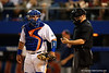 Florida Gators catcher Mike Rivera looks back at the umpire during Thursday nights Gators loss to the Auburn Tigers 4-1.  May 14th, 2015. Gator Country photo by David Bowie.