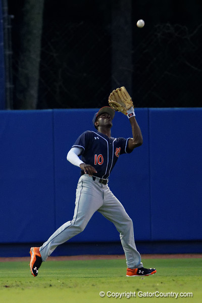 Auburn Tigers outfielder Anfernee Grier settles under the fly ball to make the catch during Thursday nights Gators loss to the Auburn Tigers 4-1.  May 14th, 2015. Gator Country photo by David Bowie.