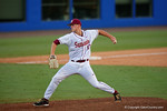 FSU pitcher Bryant Holtmann working in the seventh inning during Game 2 of the Super Regionals as the Florida Gators defeat the Florida State Seminoles 11-4.  June 6th, 2015. Gator Country photo by David Bowie.