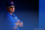 Florida Gators head coach Kevin O'Sullivan looks on from the dugout during Game 2 of the Super Regionals as the Florida Gators defeat the Florida State Seminoles 11-4.  June 6th, 2015. Gator Country photo by David Bowie.