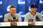 Florida Gators outfielder Harrison Bader flashes a smile during a post game interview folliwng Game 2 of the Super Regionals versus the Florida State Seminoles.  June 6th, 2015. Gator Country photo by David Bowie.