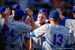Florida Gators outfielder Harrison Bader homers in the fourth inning giving the Gators an 8-2 lead during Game 2 of the Super Regionals as the Florida Gators defeat the Florida State Seminoles 11-4.  June 6th, 2015. Gator Country photo by David Bowie.