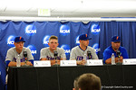 Florida Gators catcher JJ Schwarz, Florida Gators outfielder Harrison Bader, Florida Gators pitcher Bobby Poyner and Florida Gators head coach Kevin O'Sullivan during a post game interview folliwng Game 2 of the Super Regionals versus the Florida State Seminoles.  June 6th, 2015. Gator Country photo by David Bowie.