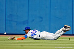 Florida Gators outfielder Buddy Reed dives but misses the ball during Game 2 of the Super Regionals as the Florida Gators defeat the Florida State Seminoles 11-4.  June 6th, 2015. Gator Country photo by David Bowie.