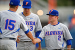 Florida Gators OF/LHP Logan Browning shakes Florida Gators pitcher Danny Young's hand as the Gators are introduced during Game 2 of the Super Regionals as the Florida Gators defeat the Florida State Seminoles 11-4.  June 6th, 2015. Gator Country photo by David Bowie.