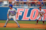 Florida Gators infielder Peter Alonso leads off second base in the second inning during Game 2 of the Super Regionals as the Florida Gators defeat the Florida State Seminoles 11-4.  June 6th, 2015. Gator Country photo by David Bowie.