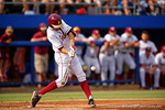 FSU outfielder Ben DeLuzio swings at a pitch during Game 2 of the Super Regionals as the Florida Gators defeat the Florida State Seminoles 11-4.  June 6th, 2015. Gator Country photo by David Bowie.