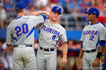 Florida Gators outfielder Harrison Bader and Florida Gators infielder Peter Alonso during Game 2 of the Super Regionals as the Florida Gators defeat the Florida State Seminoles 11-4.  June 6th, 2015. Gator Country photo by David Bowie.